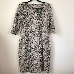 Calvin Klein Front Zip 3/4 Sleeve Dress